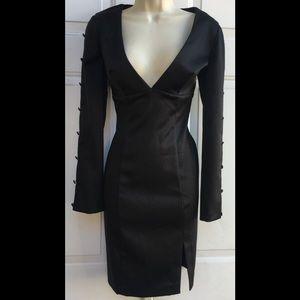 MODA International Black Satin Long Sleeve Dress 4